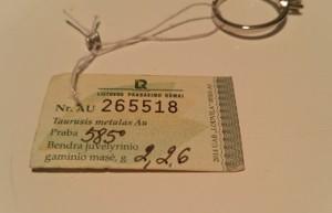 Lietuvos prabavimo rūmų deimanto sertifikatas