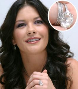 Sužadėtuvių žiedas su 10,00ct deimantu priklauso Katerinai Zetai Džons